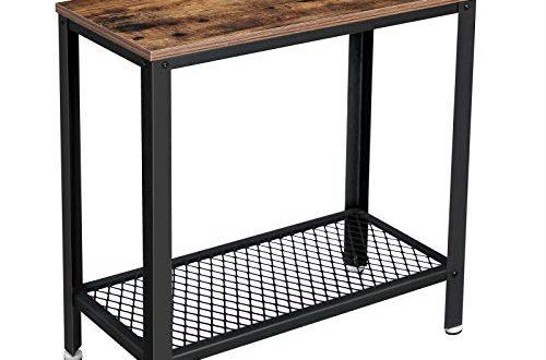VASAGLE Beistelltisch Nachttisch einfach zu montieren Sofatisch mit Gitterablage Couchtisch 500x330 - VASAGLE Beistelltisch, Nachttisch, einfach zu montieren, Sofatisch mit Gitterablage, Couchtisch im Industrie-Design, stabil, platzsparend, Wohnzimmer, Schlafzimmer, Vintage LET31BX